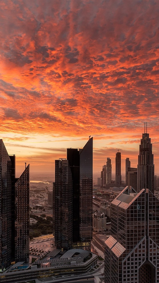 Dubai Skyscrapers Red Sky Clouds Sunset 640x1136 Iphone