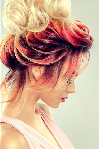 iPhone Wallpaper Fashion girl, hairstyle, colorful
