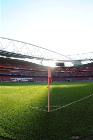 iPhone Wallpaper Football stadium, green meadow