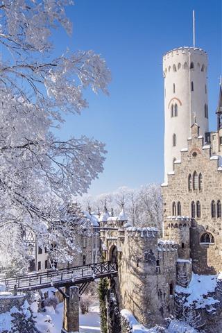 iPhone Wallpaper Germany, Baden-Wurttemberg, Lichtenstein Castle, winter, snow, trees