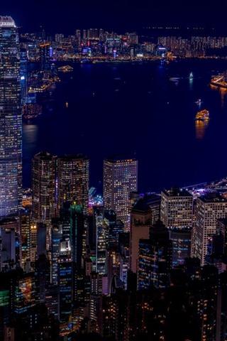 香港 街の夜 高層ビル ライト 海 640x1136 Iphone 5 5s 5c Se 壁紙 背景 画像