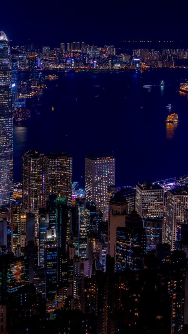 Hong Kong City Night Skyscrapers Lights Sea 640x1136