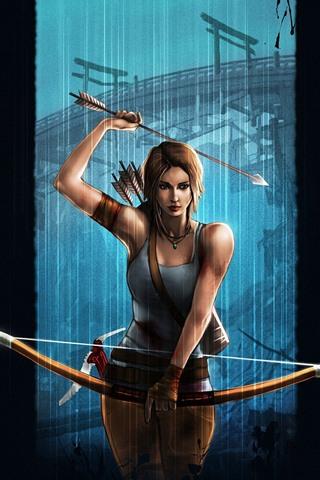 iPhone Wallpaper Lara Croft, Tomb Raider, bow, black background