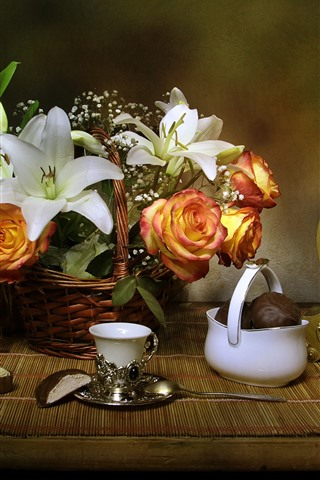 iPhone Wallpaper Lily, rose, basket, clock