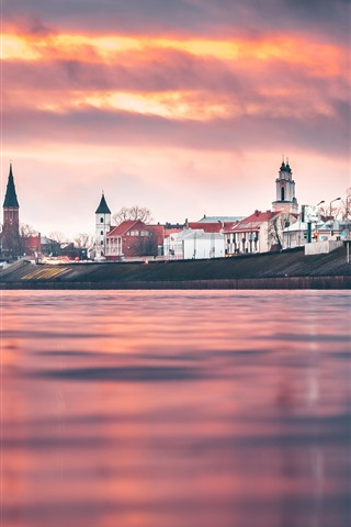 iPhone Wallpaper Lithuania, Kaunas, city, river, sunset, red sky