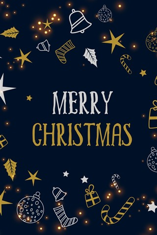 iPhone Papéis de Parede Feliz Natal, estrelas, doces, presente, bolas, decoração, imagem de arte