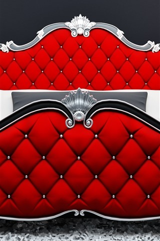 iPhone Wallpaper Modern style bed, red color