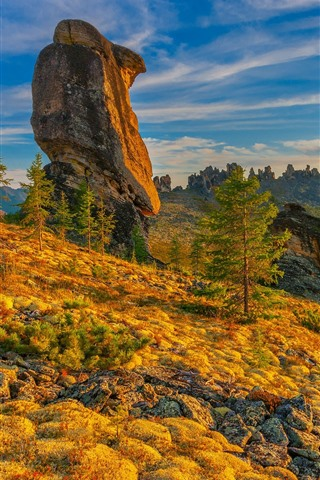 iPhone Papéis de Parede Montanhas, pedras, declive