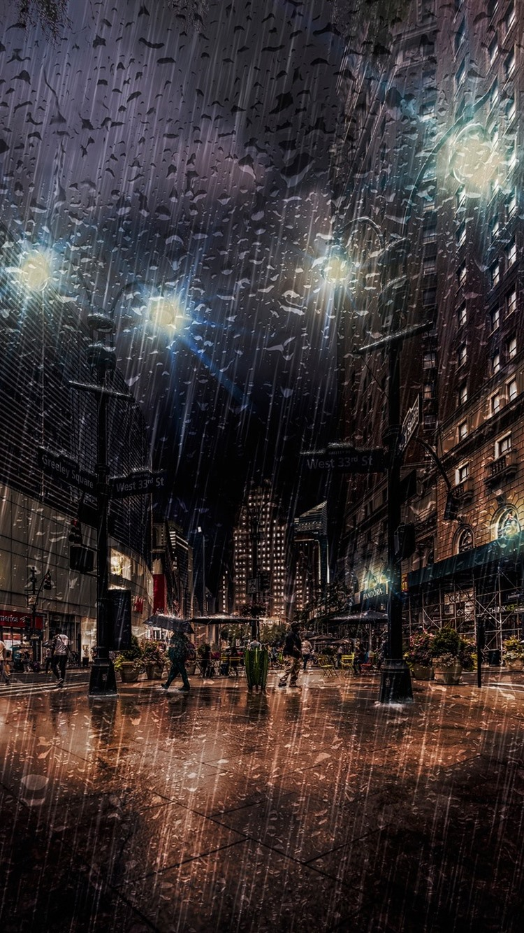 New York Night Street Heavy Rain Lights Usa 750x1334 Iphone 8