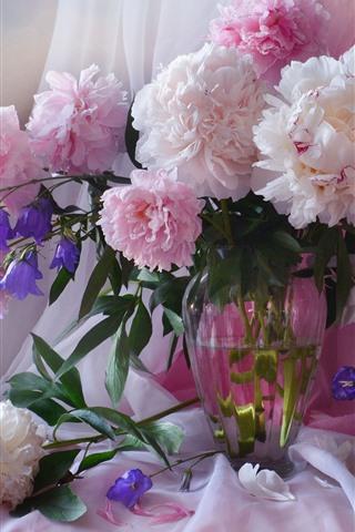 iPhoneの壁紙 ピンクの牡丹、花、花瓶