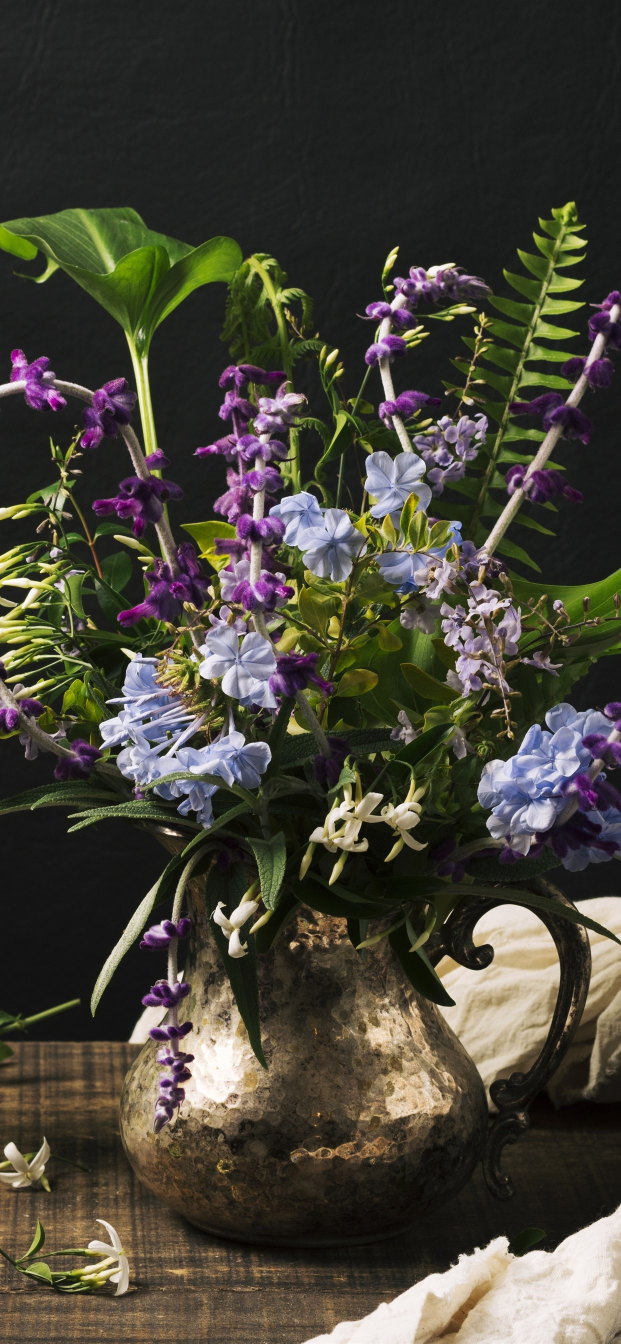 Purple And Blue Flowers Vase Black Background 1242x2688 Iphone