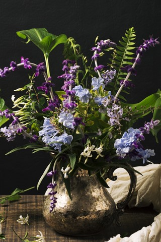Purple And Blue Flowers Vase Black Background 1242x2688 Iphone 11 Pro Xs Max Wallpaper Background Picture Image