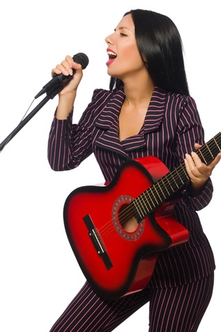 iPhone Wallpaper Singer, girl, microphone, guitar, white background