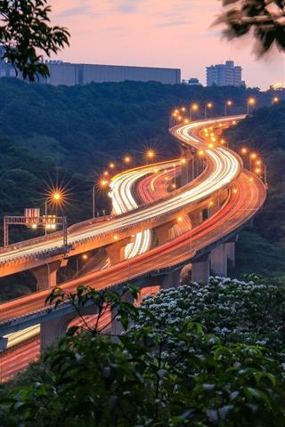 iPhone Wallpaper Taiwan, viaduct, lights, night