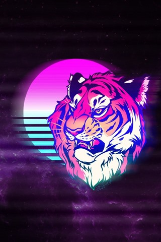 iPhone Wallpaper Tiger, face, moon, space, art picture