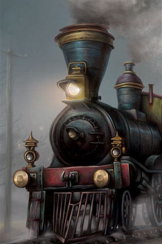 iPhone Wallpaper Train, art painting