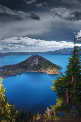 iPhone Wallpaper USA, Oregon, Crater Lake, trees, nature landscape