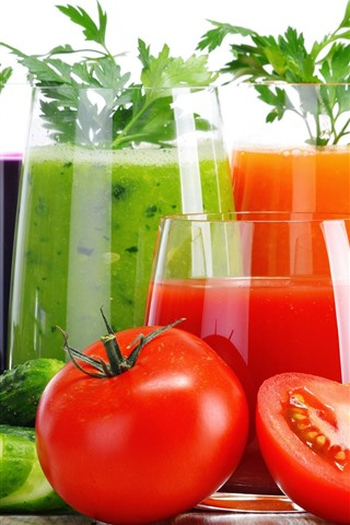 iPhone Wallpaper Vegetable juice, colorful, tomato, cucumber, carrot, white background