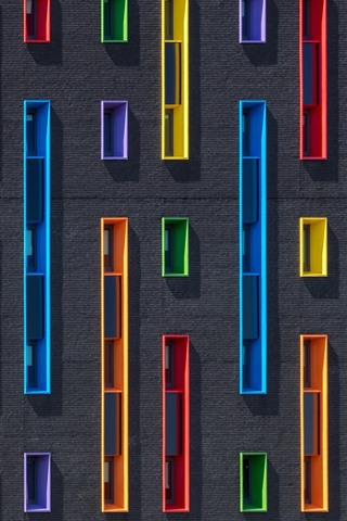 iPhone Wallpaper Wall, colorful windows