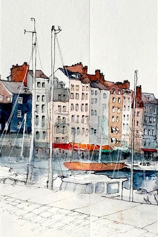 iPhone Wallpaper Watercolors, painting, France, Honfleur, Lower Normandy