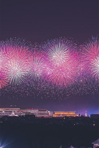 iPhone Wallpaper 70th Birthday of China, Beautiful fireworks, Beijing, China