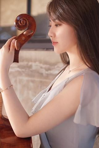 iPhone Wallpaper Asian girl, guitar, music