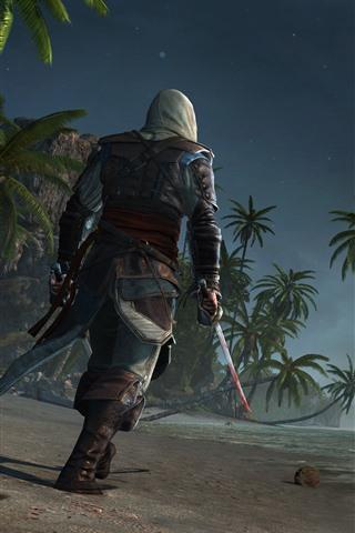 iPhone Papéis de Parede Assassin's Creed, palmeiras, praia