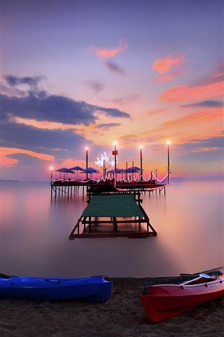 iPhone Wallpaper Beach, dock, sea, night, lights, boats
