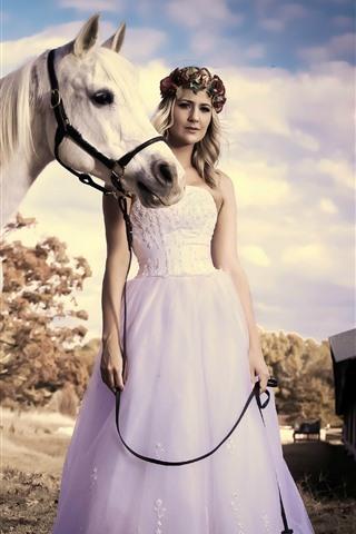 iPhone Wallpaper Blonde girl, skirt, white horse, summer