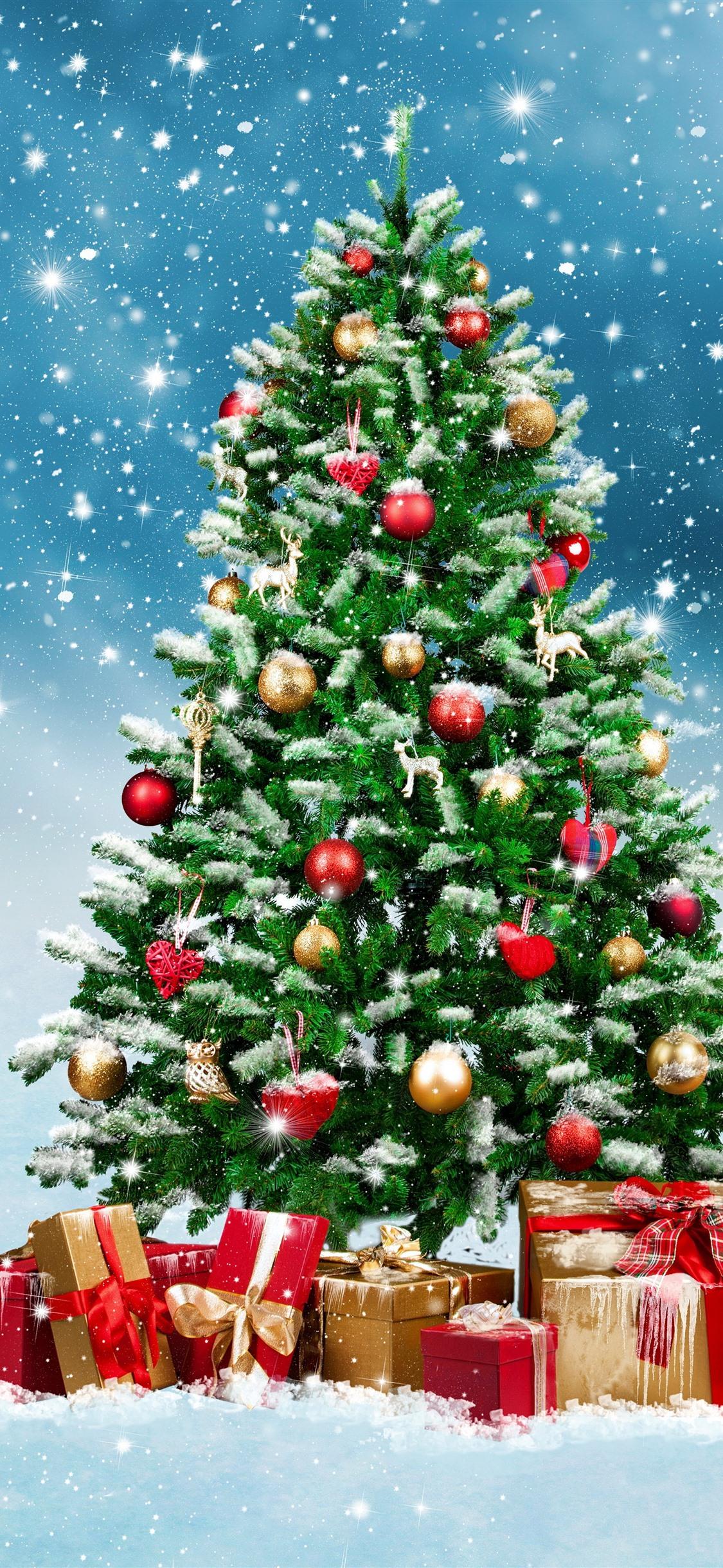 Christmas Tree Gifts Balls Snowflakes Snow Shine