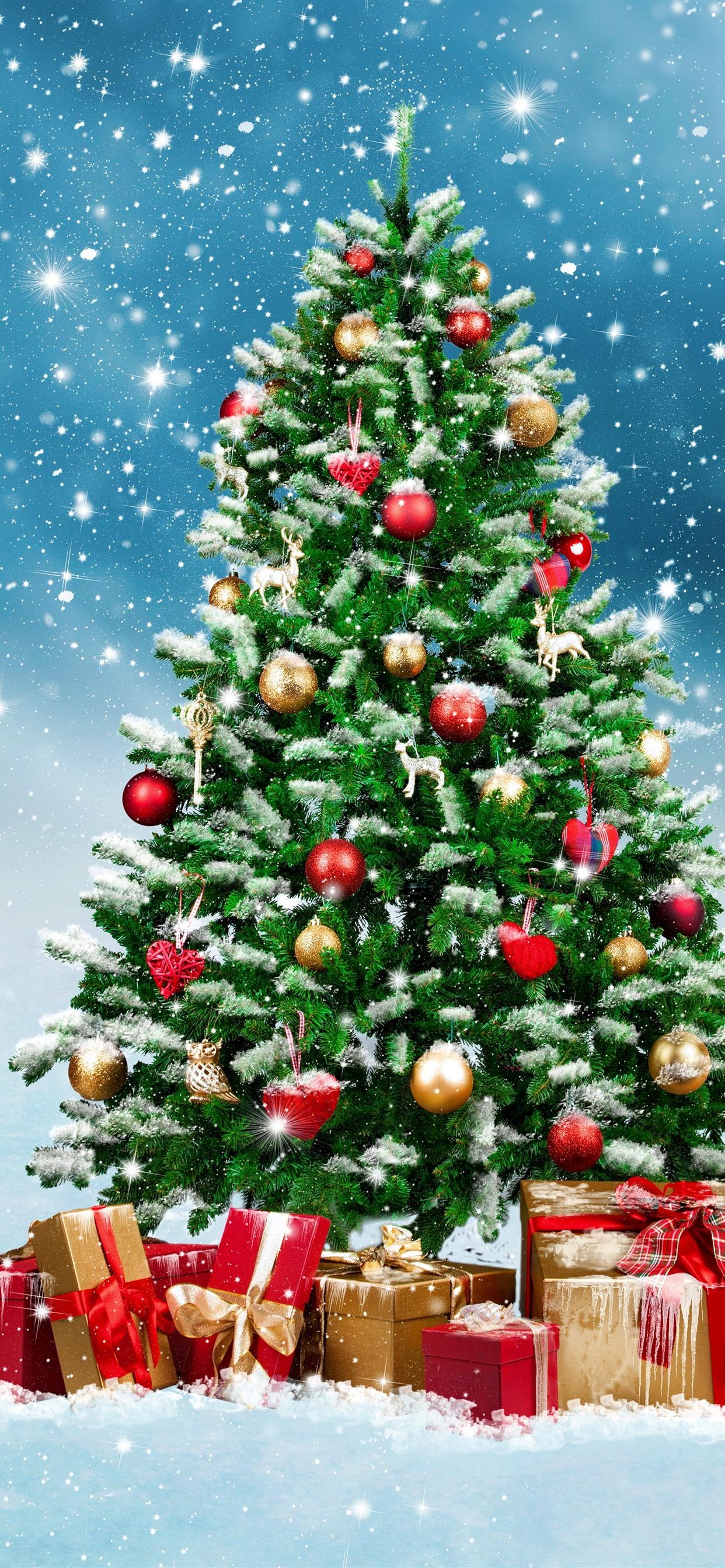 クリスマスツリー プレゼント ボール 雪 雪 輝き 1242x2688