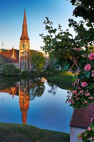 iPhone Wallpaper Copenhagen, Denmark, church, river, city, flowers