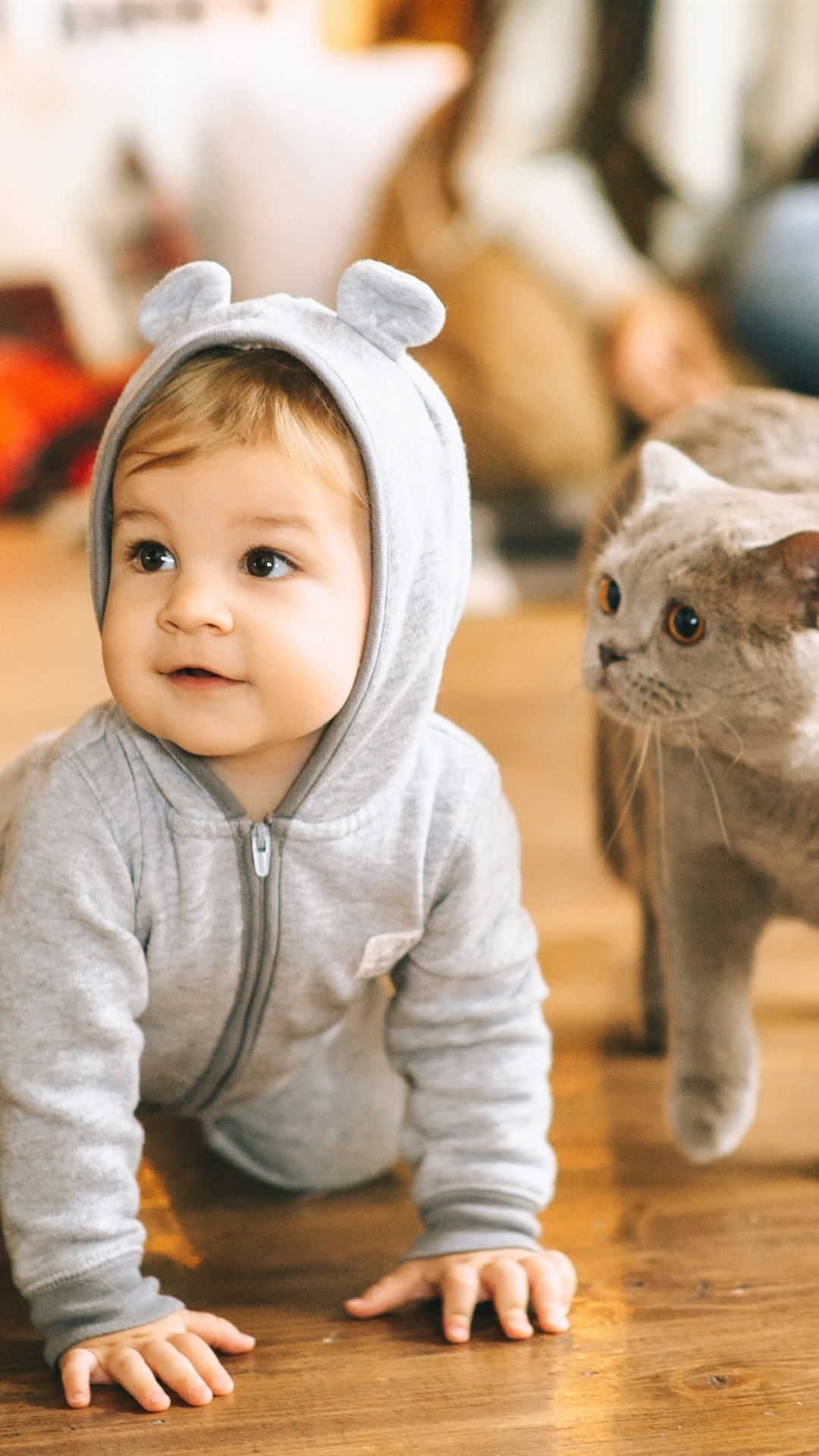 Wallpaper Cute Baby And Cat Floor 2880x1800 Hd Picture Image