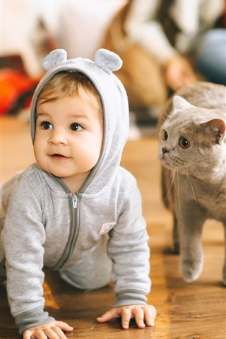 iPhone Papéis de Parede Lindo bebê e gato, chão