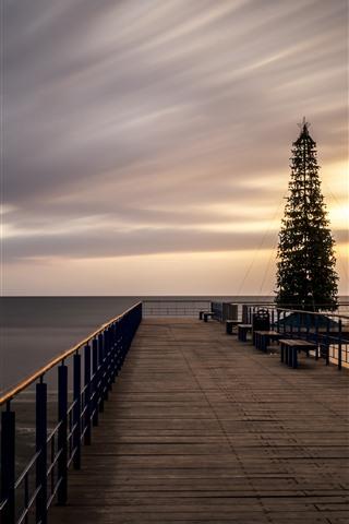 iPhone Wallpaper Dock, bridge, Christmas tree, sea, sunset