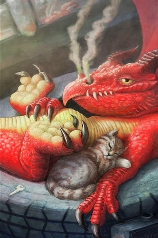 iPhone Wallpaper Dragon and cats, art picture