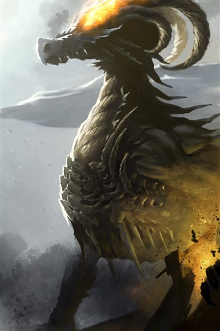 iPhone Wallpaper Dragon, horns, fire, art picture