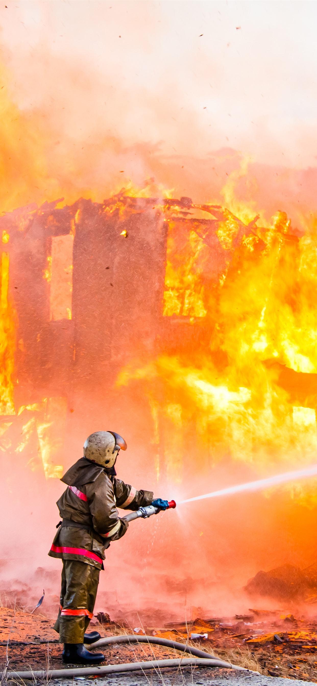 Firefighter Fire 1242x2688 Iphone Xs Max Wallpaper