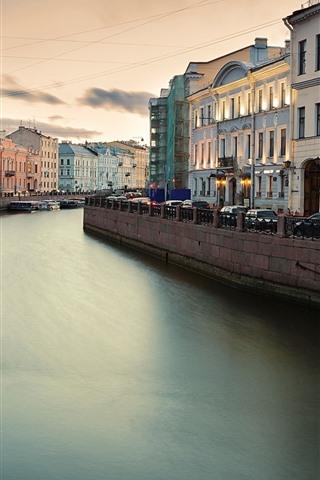 iPhone Wallpaper Fontanka, Saint Petersburg, Russia, river, city