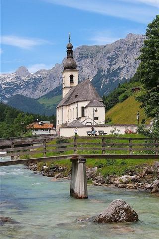 iPhone Wallpaper Germany, Bavaria, Bayern, Church, river, bridge, trees