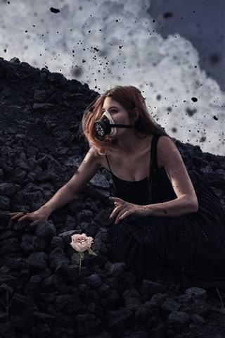 iPhone Papéis de Parede Garota, máscara de gás, pedras negras