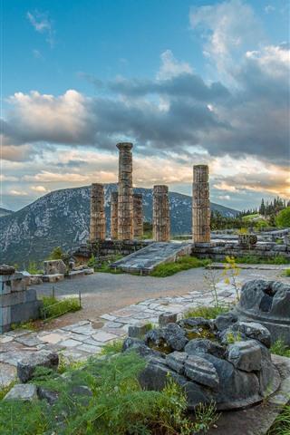 iPhone Wallpaper Greece, Delphi, ruins, column