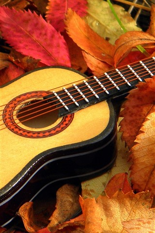 iPhone Wallpaper Guitar, leaves, autumn
