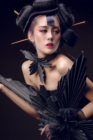 iPhone Wallpaper Japanese girl, black skirt, pose, fashion