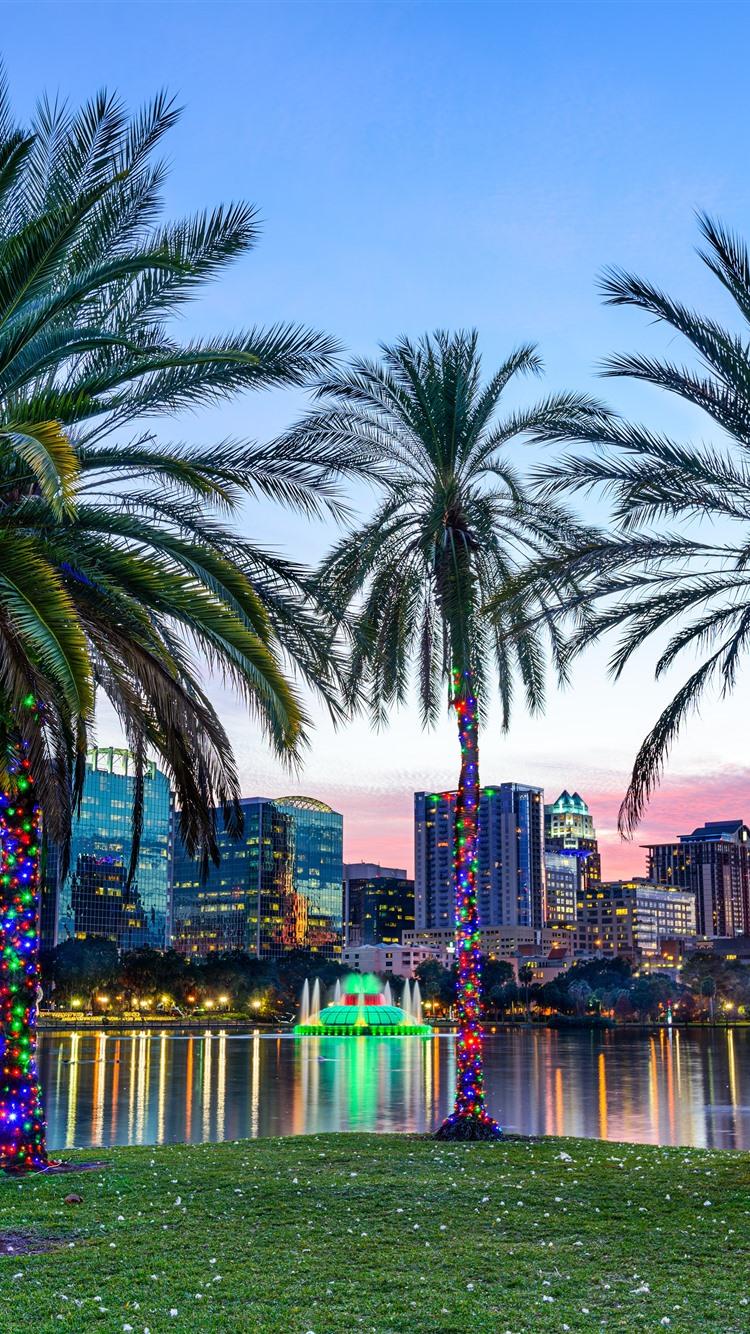 Lake Eola Park Orlando Palm Trees City Usa 1242x2688