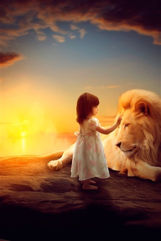 iPhone Wallpaper Little girl and lion, child, art picture