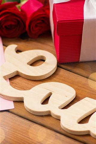 iPhone Papéis de Parede Amor, presente, rosas vermelhas, romântico