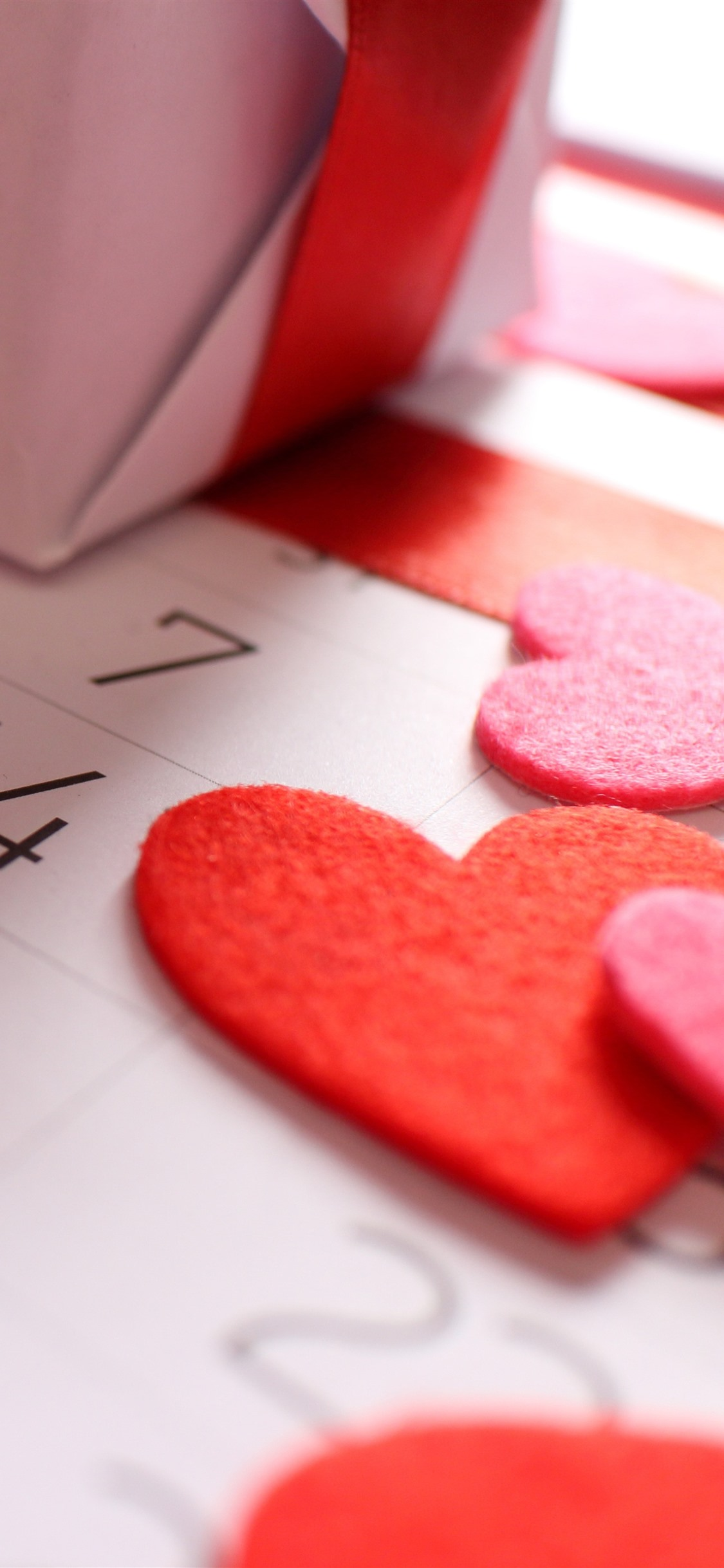 Love Hearts Calendar Gift Valentine Day 1242x2688 Iphone