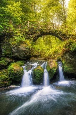 iPhone Wallpaper Luxembourg, ladder, waterfall, bridge, trees, creek, green
