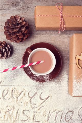 iPhone Papéis de Parede Feliz Natal, presente, pó, café, veado